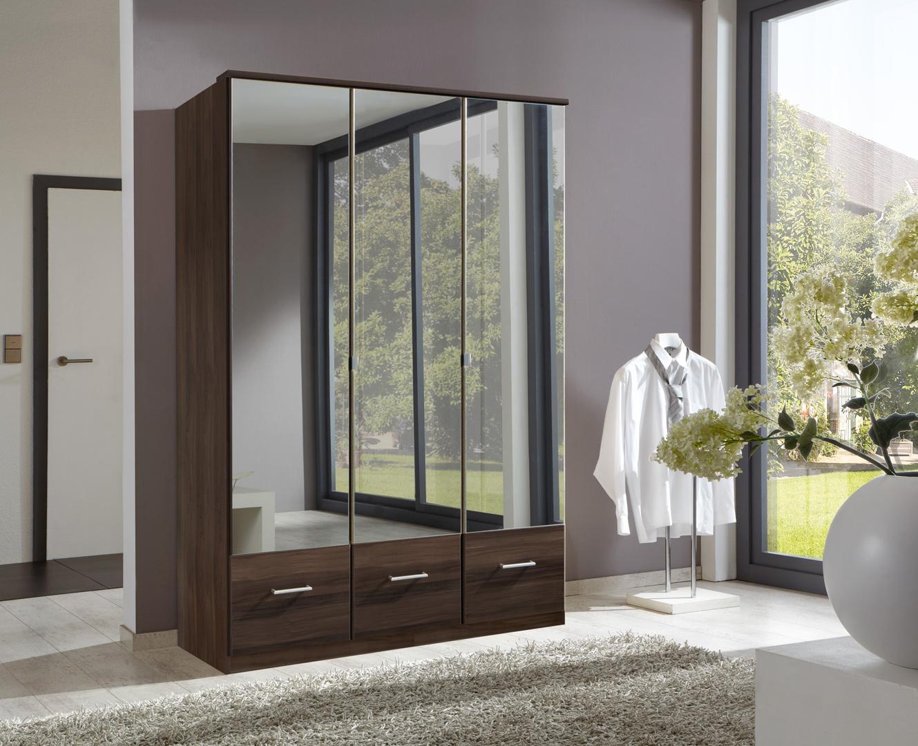 Armoire contemporaine 3 portes/3 tiroirs coloris noyer Adagio
