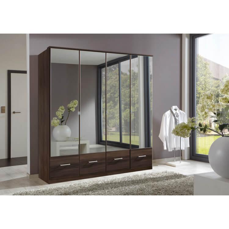 Armoire contemporaine 4 portes/4 tiroirs coloris noyer Adagio