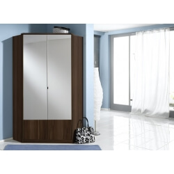 Armoire d'angle contemporaine 2 portes coloris noyer Adagio