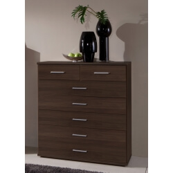 Commode contemporaine 7 tiroirs coloris noyer Adagio