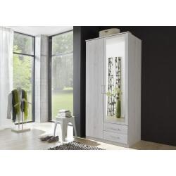 Armoire contemporaine 2 portes/2 tiroirs chêne blanc Laos