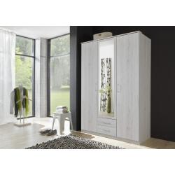 Armoire contemporaine 3 portes/2 tiroirs chêne blanc Laos