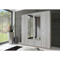 Armoire contemporaine 4 portes/2 tiroirs chêne blanc Laos
