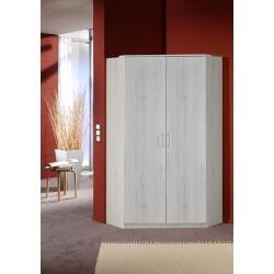 Armoire d'angle contemporaine 2 portes chêne blanc Laos