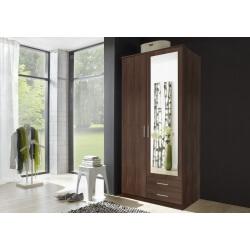 Armoire contemporaine 2 portes/2 tiroirs coloris noyer Siberia