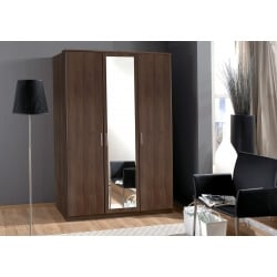Armoire contemporaine 3 portes coloris noyer Siberia
