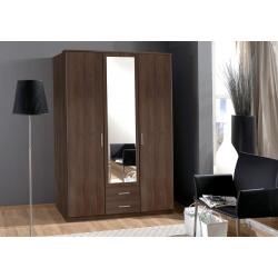 Armoire contemporaine 3 portes/2 tiroirs coloris noyer Siberia