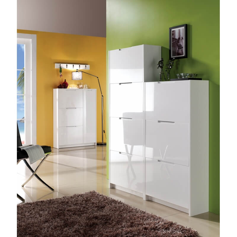 meuble chaussures design laqu blanc noelia. Black Bedroom Furniture Sets. Home Design Ideas