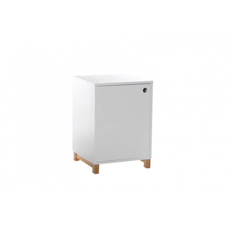 Caisson de bureau design 1 porte laqué blanc Illary