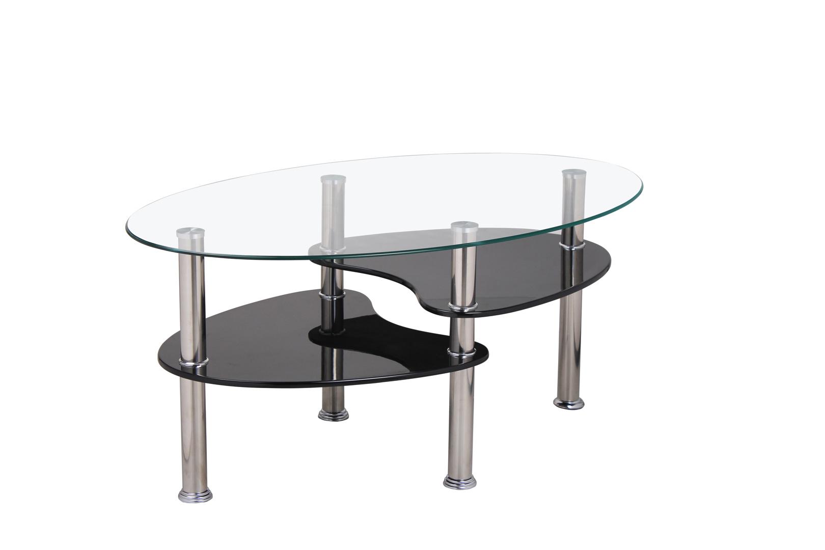 Table basse design ovale en verre MDF noir Konie   Matelpro 552dccd242ef