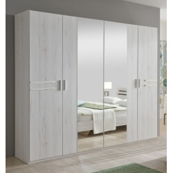 Armoire adulte contemporaine 4 portes chêne blanc Estonia