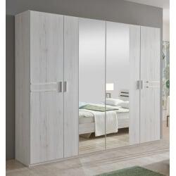 Armoire adulte contemporaine 4 portes chêne blanc Estonia