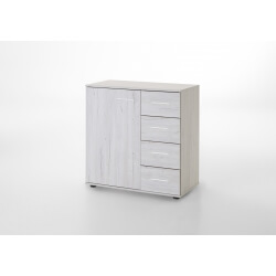 Commode contemporaine 1 porte/4 tiroirs chêne blanc Estonia