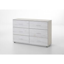 Commode contemporaine 6 tiroirs chêne blanc Estonia