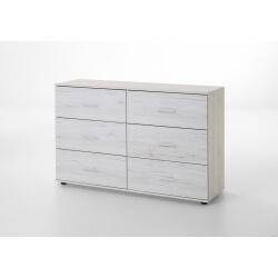 Commode contemporaine 6 tiroirs chêne blanc Estonia