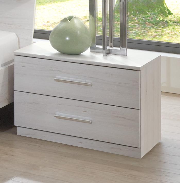 Chevet contemporain 2 tiroirs chêne blanc Estonia
