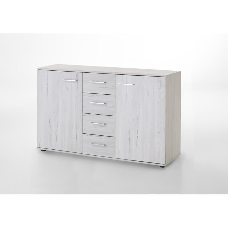 commode contemporaine 2 portes 4 tiroirs ch ne clair syleone. Black Bedroom Furniture Sets. Home Design Ideas