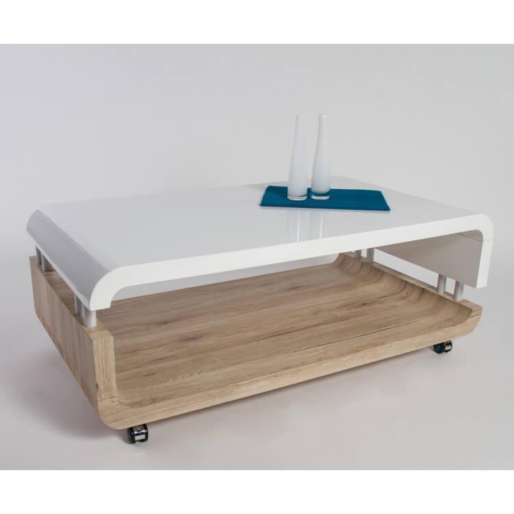 Table Basse Design En Bois Chene Sonoma Blanc Laque Crisalide Matelpro