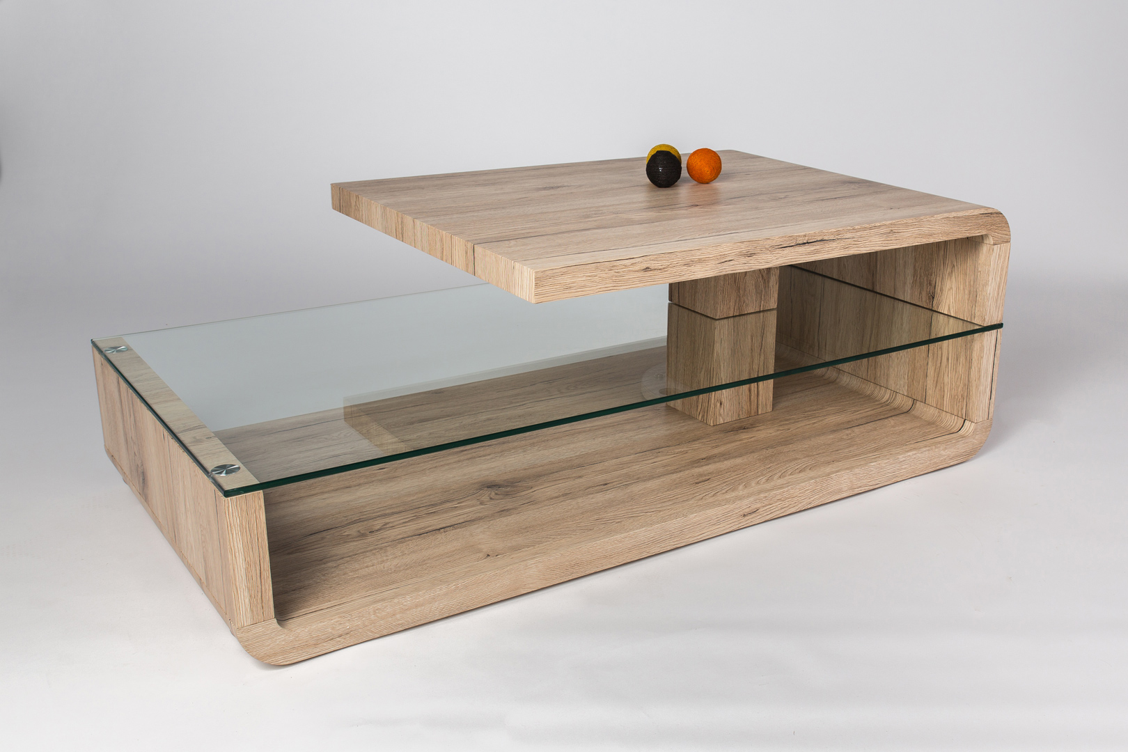 Table Basse Design Bois.Table Basse Design Bois Et Verre Chene Sable Galati