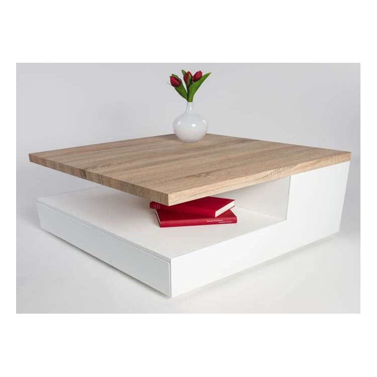 Table Basse Design Bois.Table Basse Design En Bois Blanc Laque Chene Clair Valero
