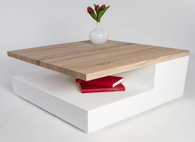 table basse design en bois blanc laqu ch ne clair valero. Black Bedroom Furniture Sets. Home Design Ideas