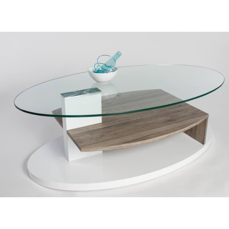 Table basse design verre et bois blanc laqu ch ne sable malorie - Table basse blanc laque et bois ...