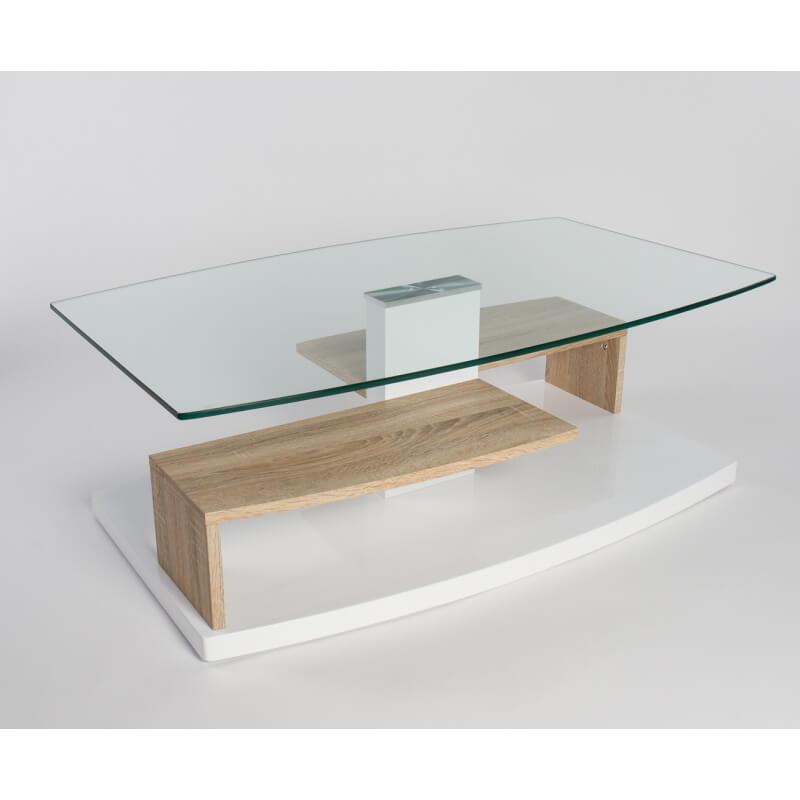 Table basse design verre et bois blanc laqu ch ne sable lynette - Table basse blanc laque et bois ...