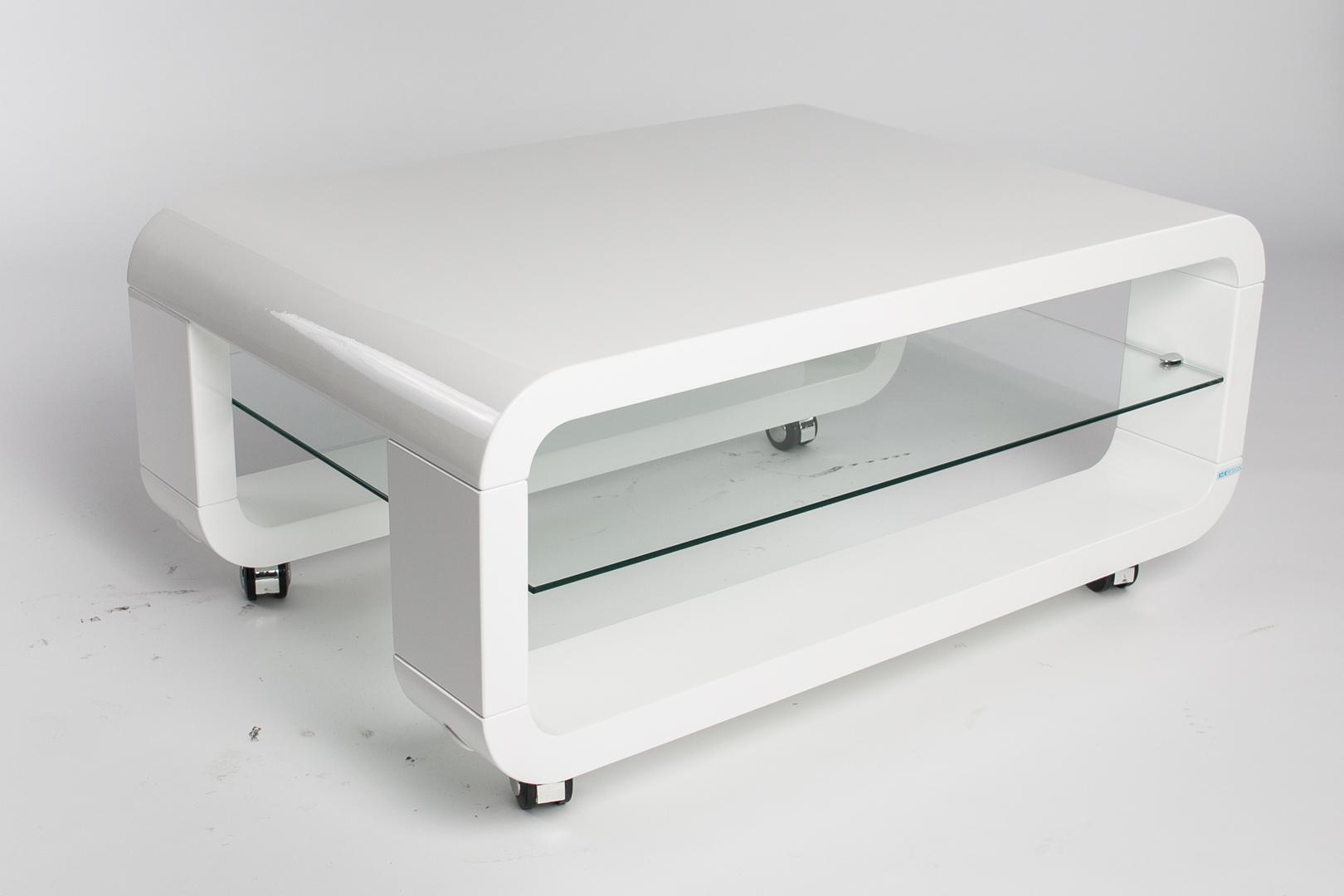 Table Basse Design Verre Et Bois Blanc Laque Juke