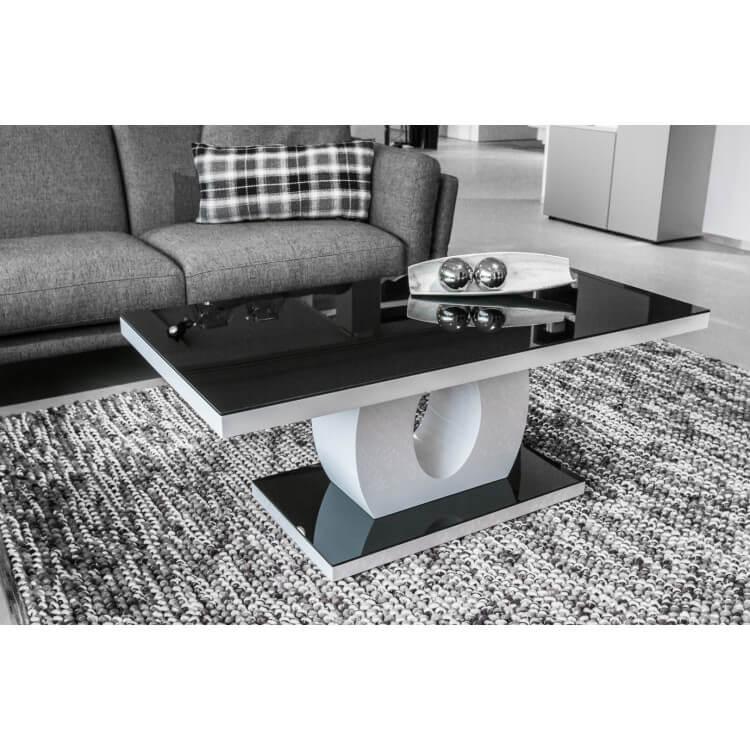 Table Basse Design Verre Et Bois Blanc Laque Noir Amphore