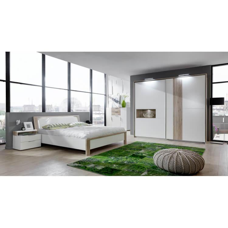 Chambre adulte design avec éclairage coloris chêne/blanc alpin Evita II