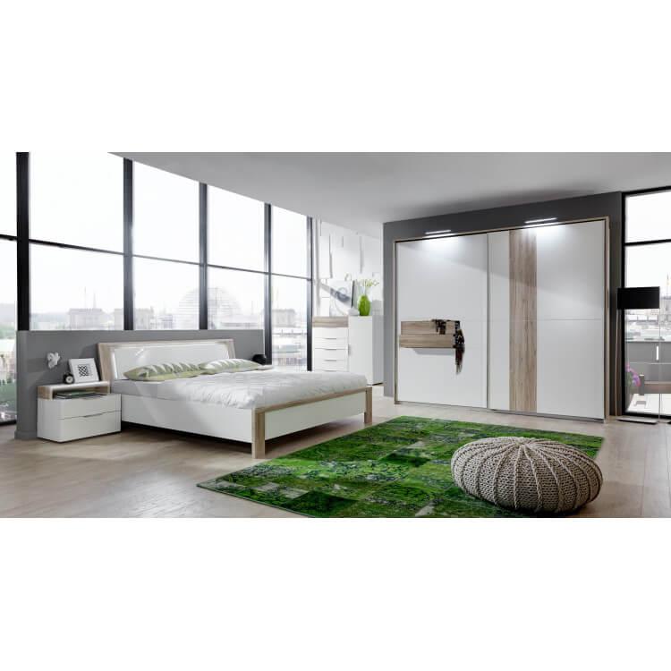 Chambre adulte design avec éclairage coloris chêne/blanc alpin Evita III