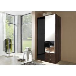 Armoire contemporaine 2 portes/2 tiroirs noyer/laqué noir Delphine