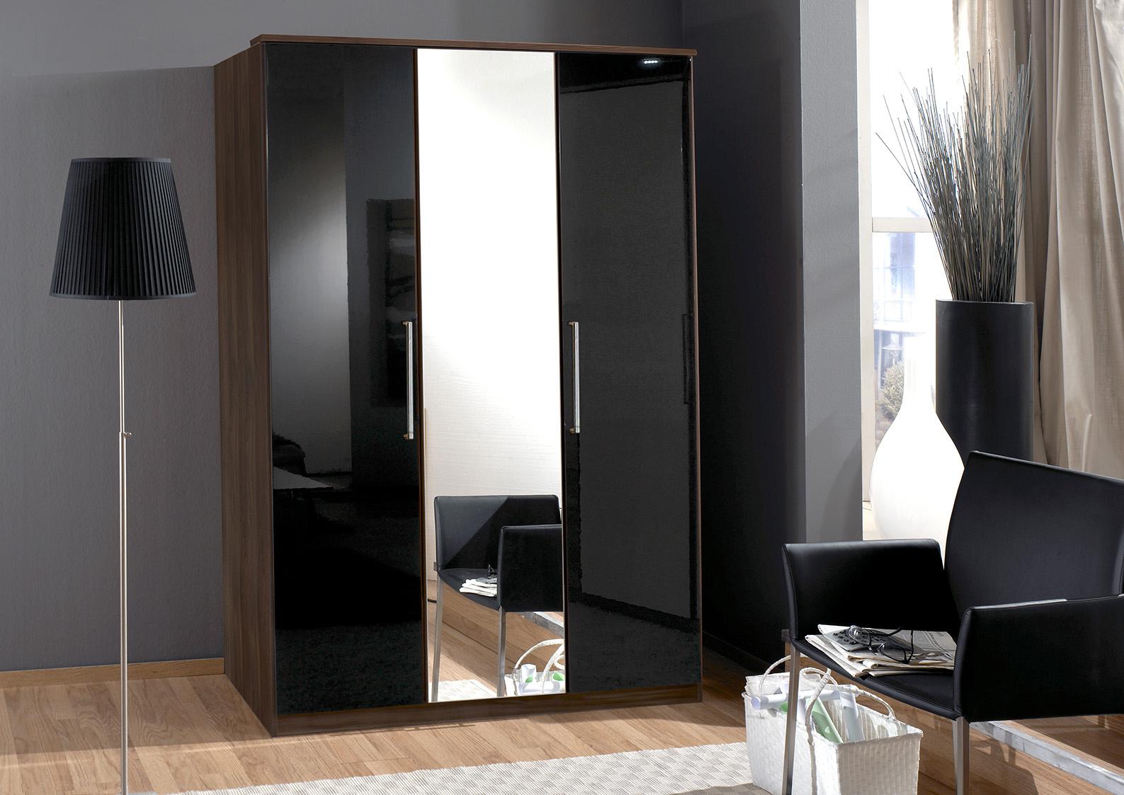 Armoire contemporaine 3 portes noyer/laqué noir Delphine