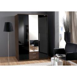 Armoire contemporaine 3 portes/2 tiroirs noyer/laqué noir Delphine