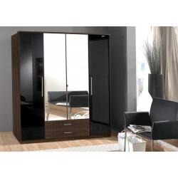 Armoire contemporaine 4 portes/2 tiroirs noyer/laqué noir Delphine
