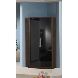 Armoire d'angle contemporaine 2 portes noyer/laqué noir Delphine