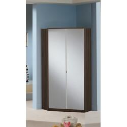 Armoire d'angle contemporaine 2 portes avec miroir coloris noyer Delphine