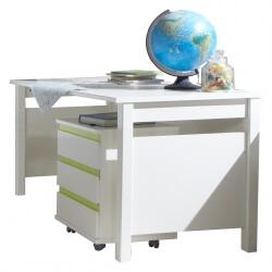 Bureau enfant contemporain avec caisson blanc alpin/vert Wendy