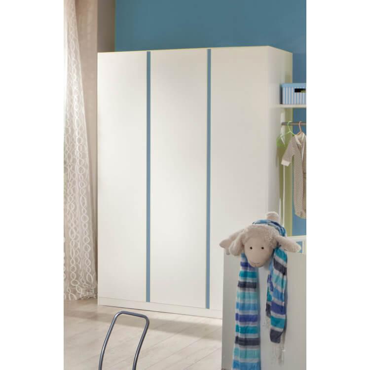 Armoire contemporaine 3 portes blanc alpin/décor bleu denim Mandy ...