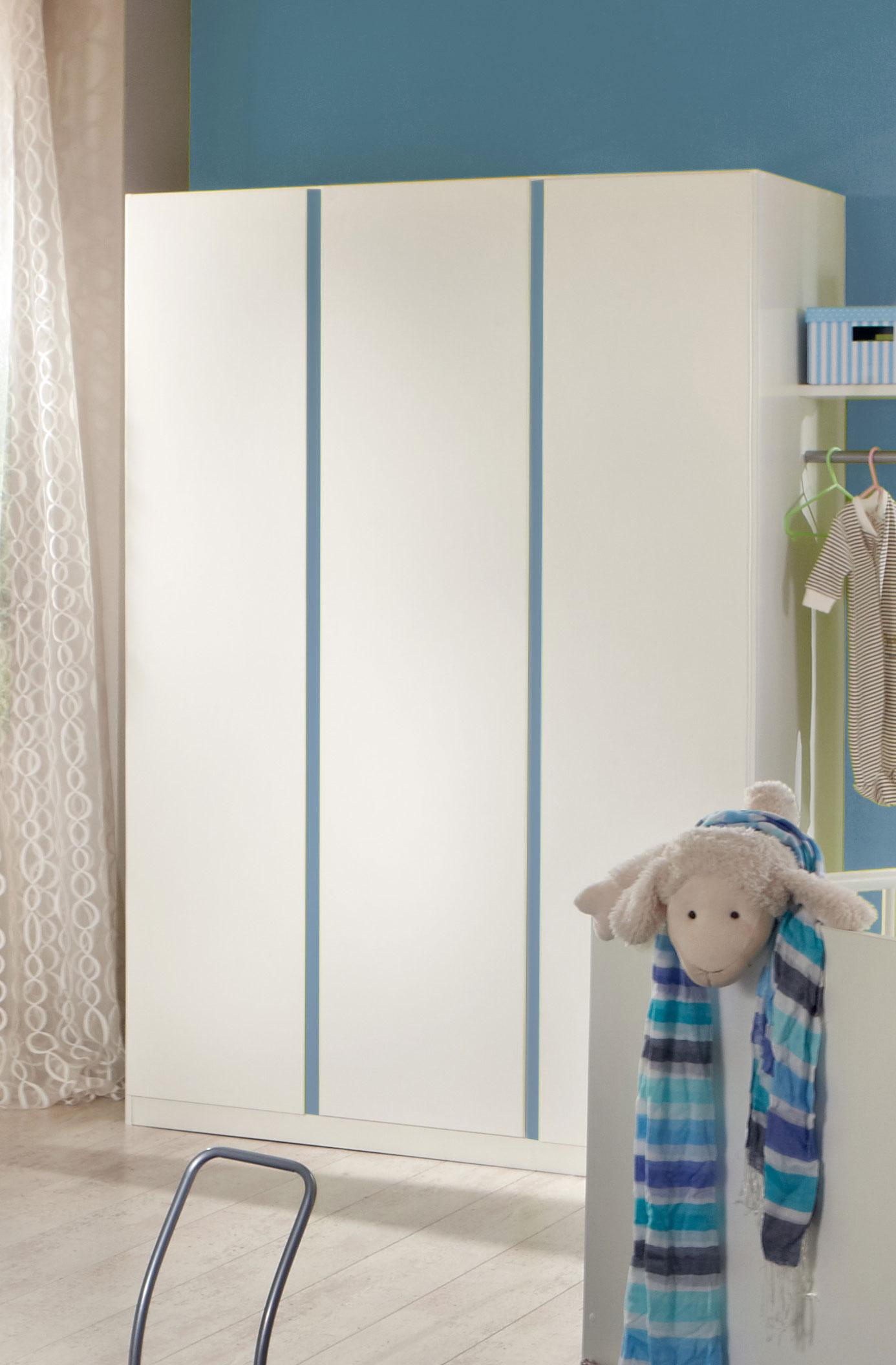Armoire contemporaine 3 portes blanc alpin/décor bleu denim Mandy
