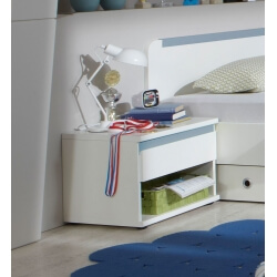 Chevet enfant contemporain 1 tiroir blanc alpin/bleu denim Mandy