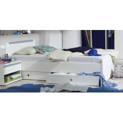 Lit enfant contemporain avec tiroir blanc alpin/bleu denim Mandy