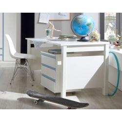 Bureau enfant contemporain avec caisson blanc alpin/bleu denim Mandy