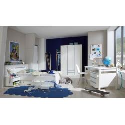 Chambre enfant contemporaine blanc alpin/bleu denim Mandy