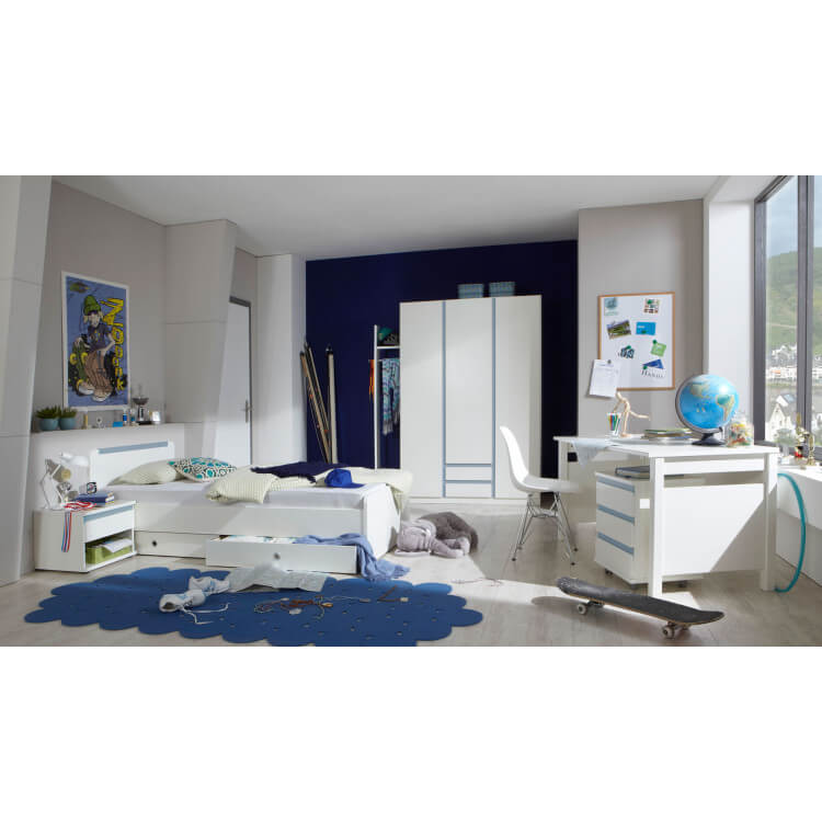 Chambre enfant contemporaine blanc alpin/bleu denim Mandy | Matelpro