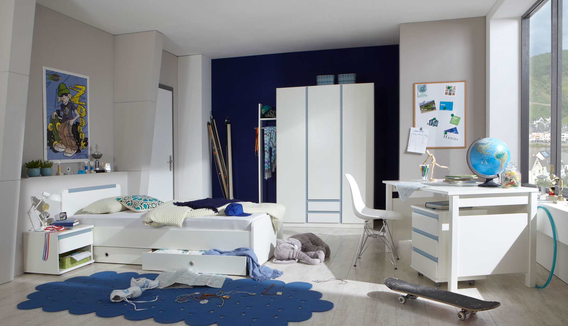 Chambre enfant contemporaine blanc alpin/bleu denim Mandy | Matelpro