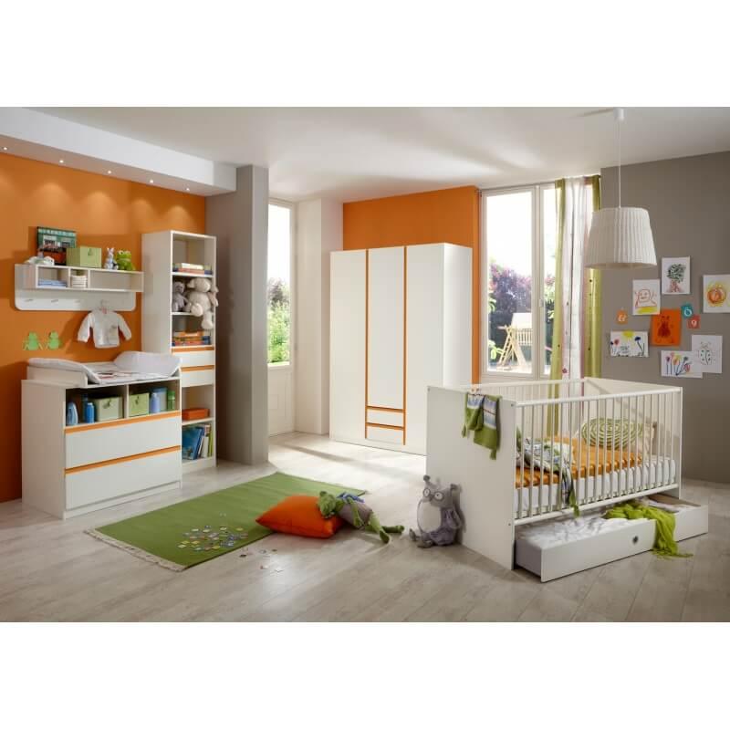 biblioth que enfant contemporaine blanc alpin orange ysalie. Black Bedroom Furniture Sets. Home Design Ideas