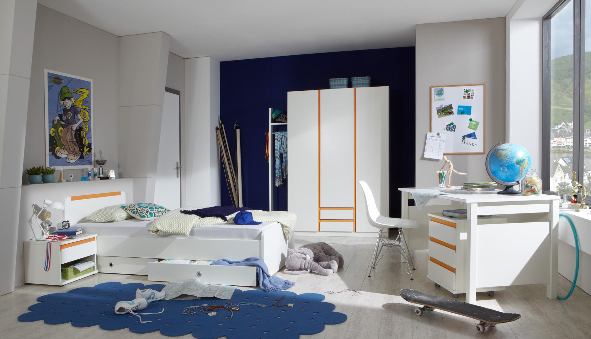 Chambre enfant contemporaine blanc alpin/orange Ysalie