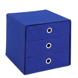 Panier de rangement 3 tiroirs en tissu bleu Gama