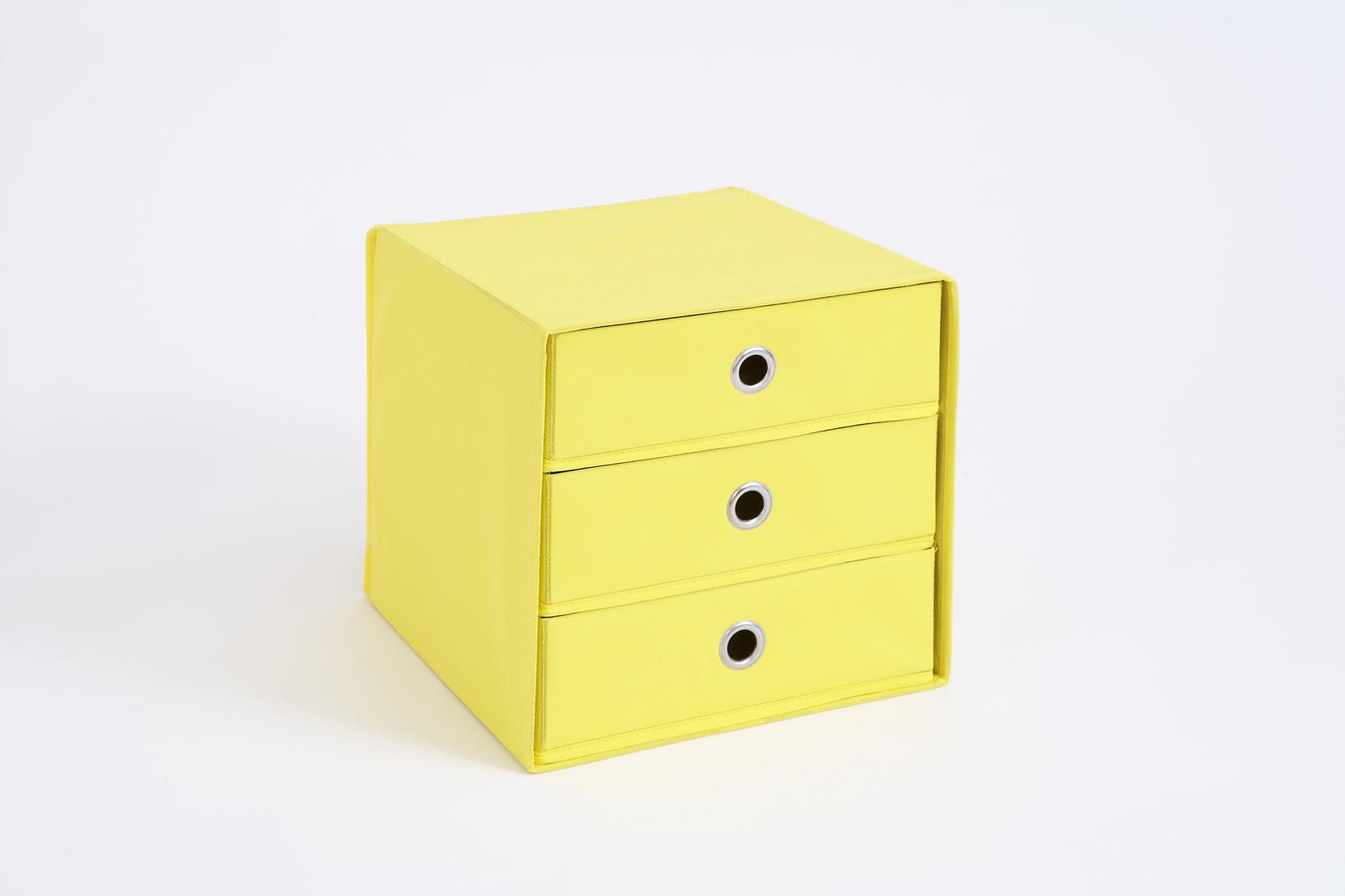 Panier de rangement 3 tiroirs en tissu jaune Gama